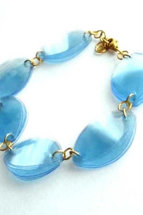 Blue eco-friendly bracelet made of recycled plastic bottles - upcycled jewelry, golden & pastel blue, eco chic, lovely gift