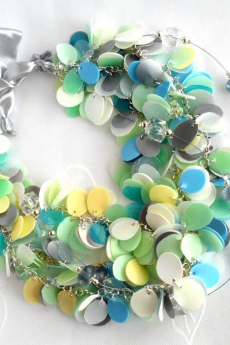Blue green white pastel statement necklace made of recycled plastic bottles & silver ribbon, upcycled jewelry, eco-friendly