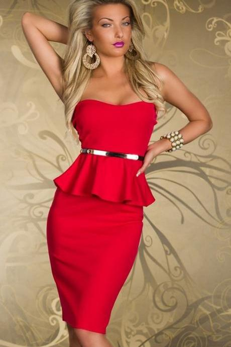Elegant Red Peplum Dress