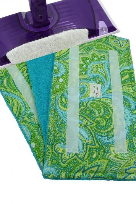2 Wet Jet pads Reusable - Paisley Green Pattern with Teal Terry Cloth