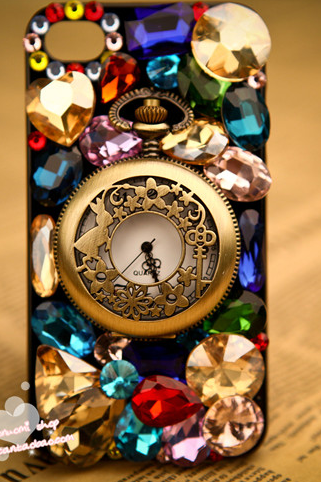 Multicolor Swarovski Crystal Rhinestone Protective Case Cover Eiffel Tower Pocket Watch iPhone 4 4S