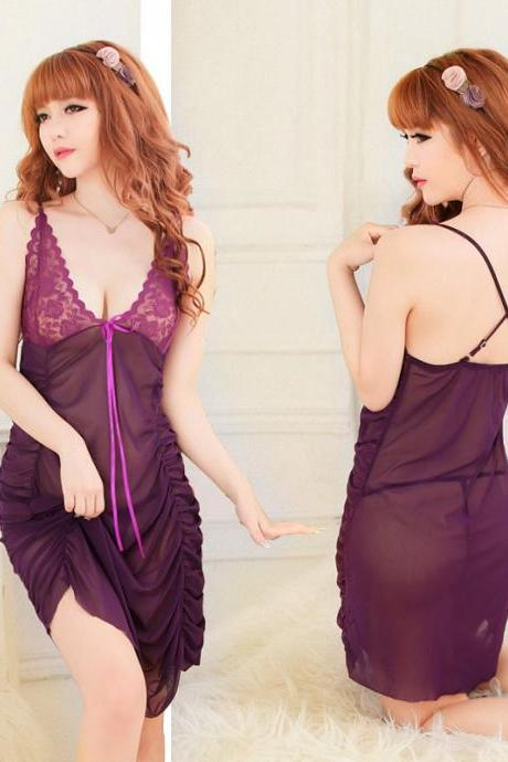 Fashion Sexy Charming Pleated Sleepwear Sleepdress-Purple