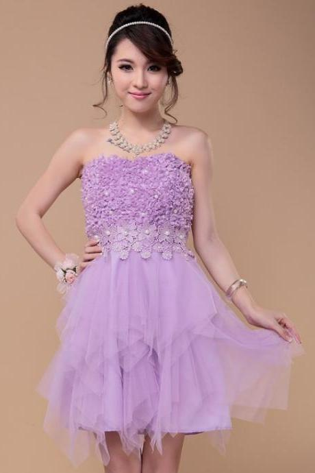 Beading flower mini bridesmaid dress design the bride evening dress-Purple