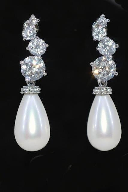 Wedding Earrings, Bridesmaid Earrings, Bridal Jewelry - Cascading Round Cubic Zirconia Earring With Shell Based White Briolette Pearl (E396)