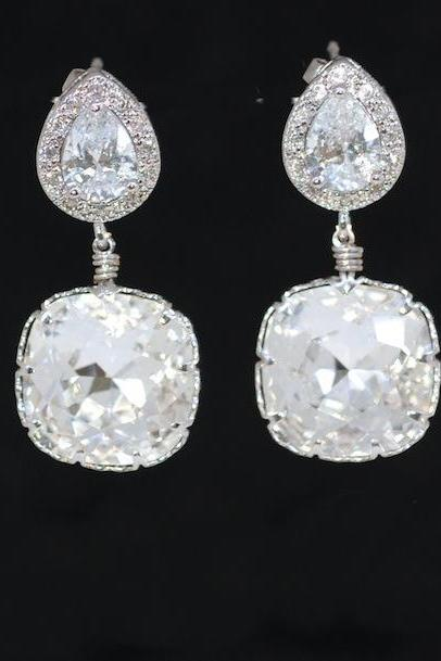 Wedding Earrings, Bridesmaid Earrings, Bridal Jewelry - Cubic Zirconia Teardrop Earring with Swarovski Clear Crystal (E400)