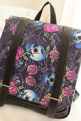 Skulls and Roses Backpack Bookbag