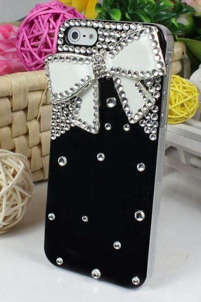 ew Black Back Latest Bling Bow Tie Rhinestone Hard Back Case Cover Skin For Apple iPhone 5 5th 5G