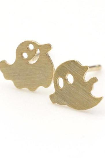 Fun and cute Smiley Ghosts earrings in Gold