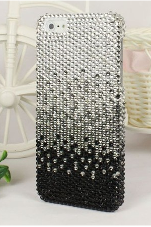 Luxury Bling Glitter Rhinestone Hard Case Cover For Apple Iphone 5 5G 5th Black