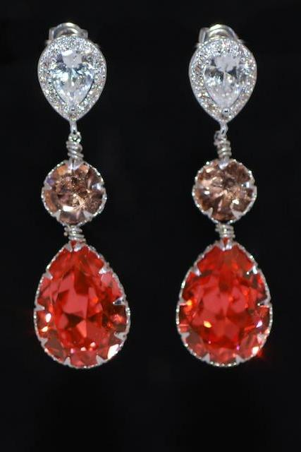 Cubic Zirconia Teardrop Earring with Swarovski Light Peach Round, Padparadscha Teardrop Crystals - Wedding Jewelry, Bridal Earrings (E633)