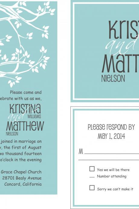 75 sets Personalized Wedding Invitation With love birds//matching RSVP postcard//fully customized to your wedding