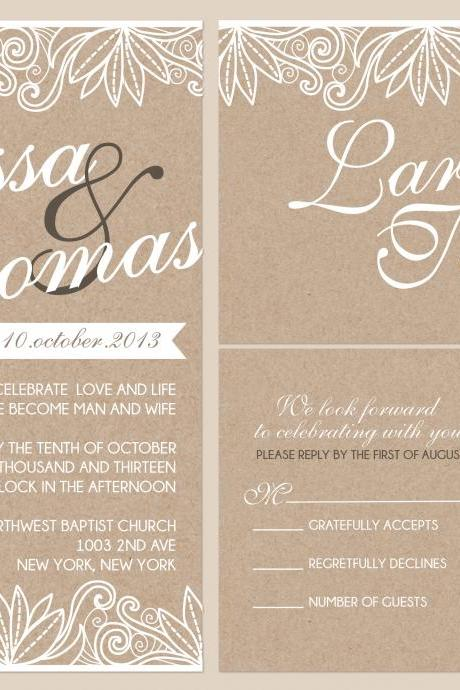 100 sets Personalized Wedding Invitation With love birds//matching RSVP postcard//fully customized to your wedding