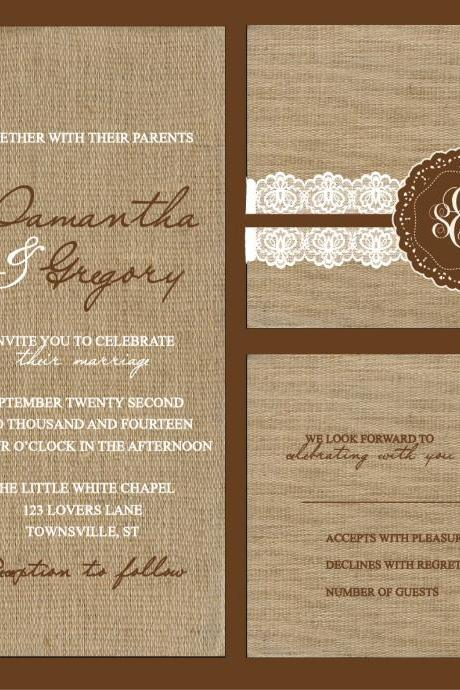 100 sets Personalized Wedding Invitation With burlap and lace RSVP postcard//fully customized to your wedding