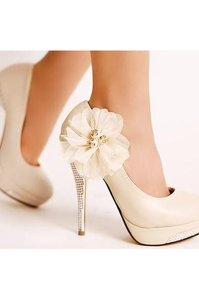 Free Shipping! Womens Stunning Elegant Flower High Heel Stiletto Pumps