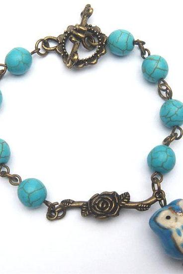 Antiqued Brass Branch Porcelain Owl Turquoise Bracelet
