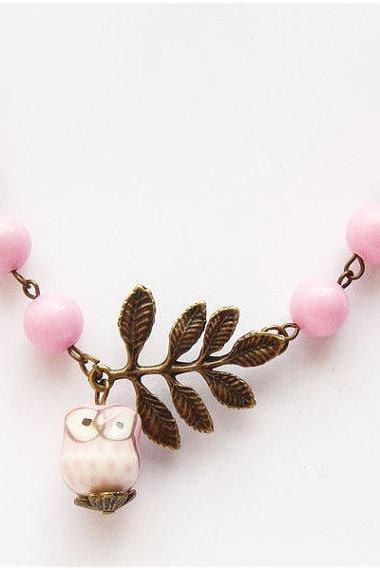Antiqued Brass Leaf Pink Jade Porcelain Owl Necklace