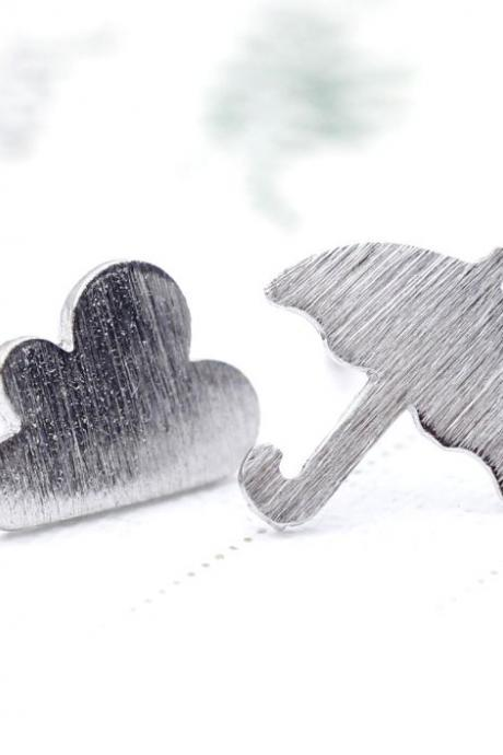 Cloud and Umbrella Stud Earrings in Silver, Jewelry