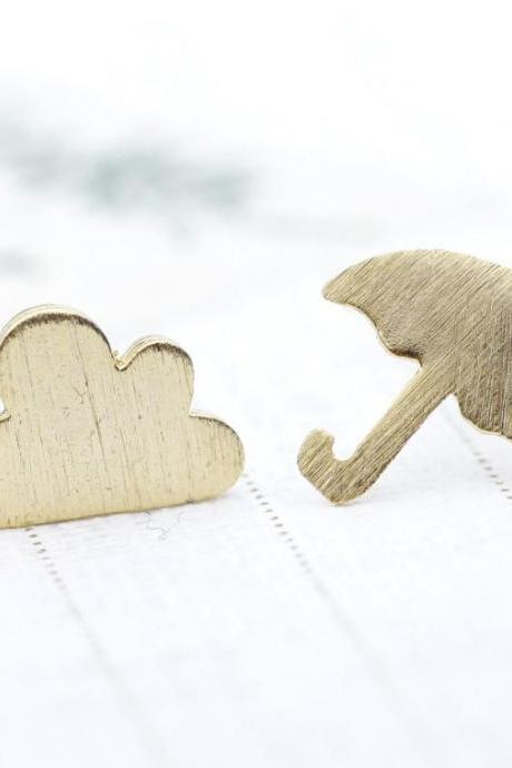 Grumpy little cloud and Umbrella Stud Earrings in Gold
