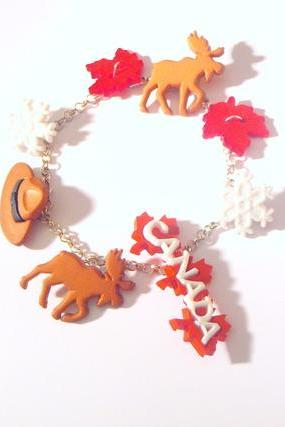 bracelet TRAVEL IN CANADA Reindeers Leaves Deers Hat Snow Flakes