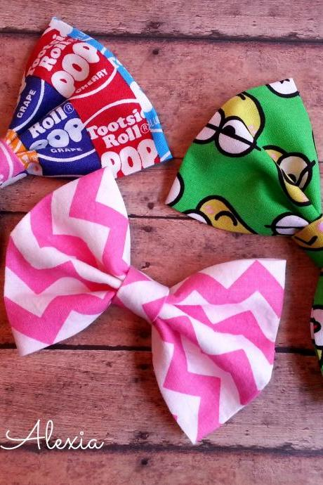 Fabric Bow Tie Hair Bow