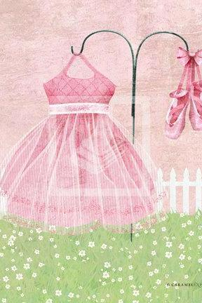 Garden Girls Pretty Pink Ballerina Ballet Dress Nursery Wall Art Decor Print by Caramel Expressions