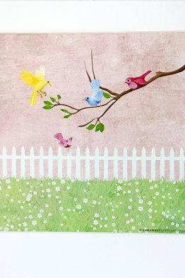 Garden Girls Sweet Love Birds Tweet Tweet Nursery Wall Art Decor Print by Caramel Expressions