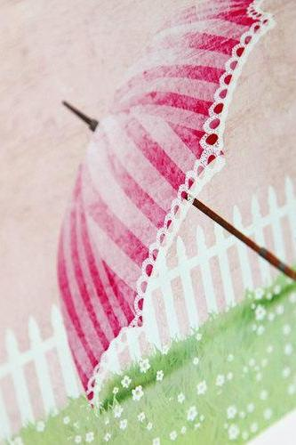 Garden Girls Sweet Pink Parasol Umbrella Nursery Wall Art Decor Print by Caramel Expressions