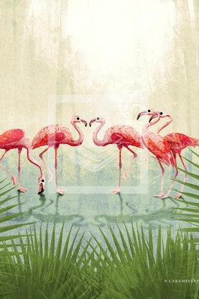 Jungle Safari Pink Flamingo Family Wall Art Decor Print by Caramel Expressions