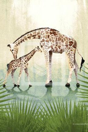 Jungle Safari Giraffe Family Wall Art Decor Print by Caramel Expressions