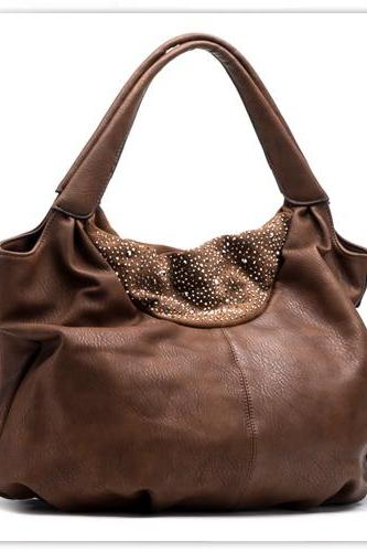 Brown Leather Tote, Hobo Handbag, Buckle Tote, Brown Leather Handbag, Brown Purse, Leather Purse, Brown Messenger