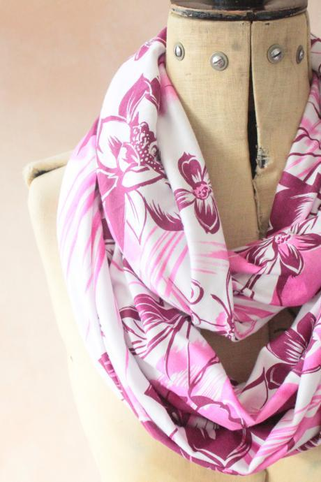 Infinity scarf - Snood, Eternity scarf, Circle scarf, Jersey scarf, Tube scarf, Loop scarf, Snood, T-Shirt scarf - Pink/Purple Floral