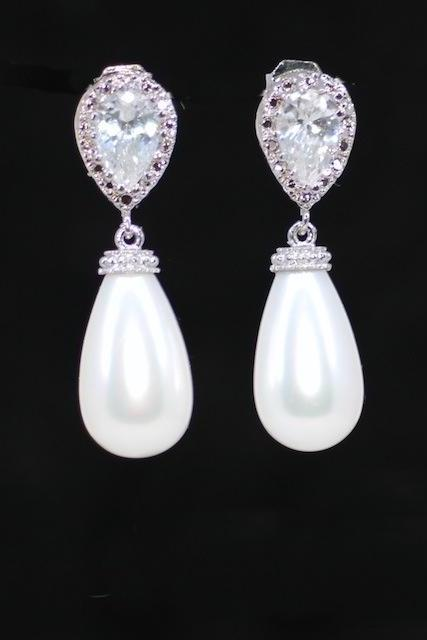 Wedding Jewelry, Bridal Earrings, Bridesmaid MOH Gift - Cubic Zirconia Teardrop Earring with White Briolette Pearl (E458)