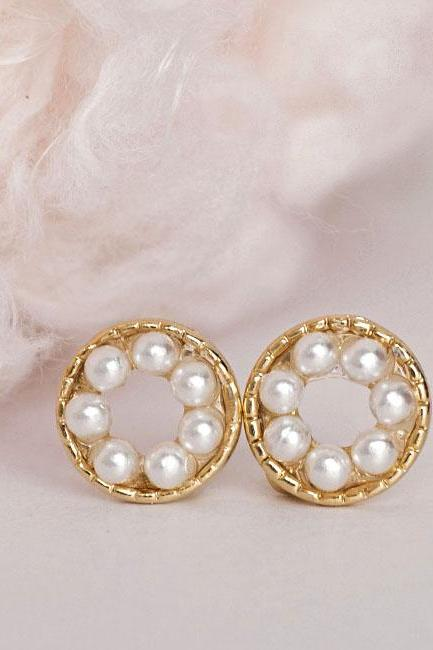 Pearl Bead Stud Earrings, Tiny White Bead Circle Pave Ear Posts, Minimalist