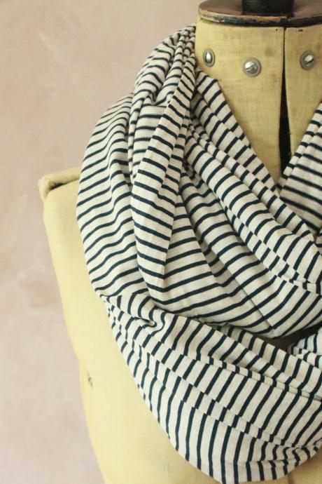 Infinity scarf - Snood, Eternity scarf, Circle scarf, Jersey scarf, Tube scarf, Loop scarf, Snood, T-Shirt scarf - STRIPE