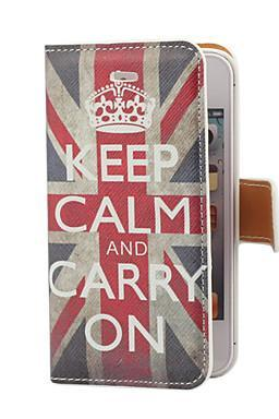 Vintage Keep Calm and Carry On Pattern PU Leather Case with Card Slot and Stand Cover for iPhone 4/4S