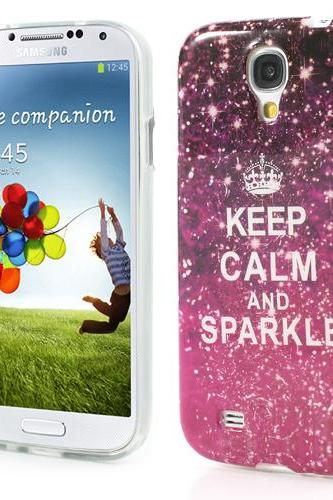 1pcs colorful decoration patinted Stick paste Keep calm ice cream candy soft TPU Gel Case Cover For Samsung Galaxy S4 i9500