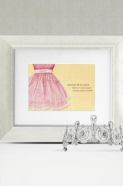 Personalized Ballerina Baby Birth Announcement 8x10 Nursery Art Print Wall Art Princess by caramel expressions