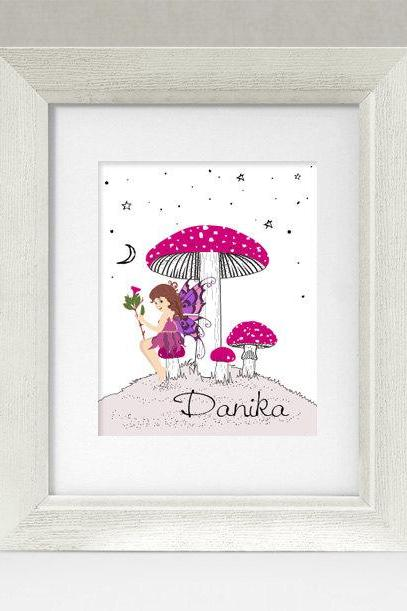 Personalized Fairy and Mushroom Pink and Purple Fairytale Nursery Rhyme 8x10 Wall Art Decor Print by Caramel Expressions