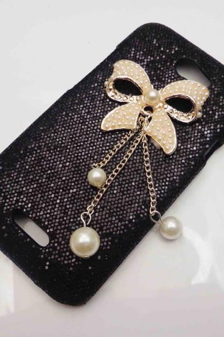 Bling Shiny Deluxe Small Bow Black Blingy Case Cover for HTC One S NEW HOT