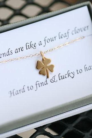 Four leaf clover necklace,shamrock necklace, Gold shamrock,Best friend gift,graduation gift,sisterhood,birthday gift