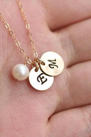 Personalized necklace,Two Initial letter charms,14k Gold Filled dot Necklace,Sisterhood,Best Friends,Mom and baby,Friendship