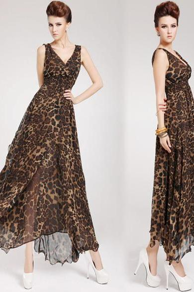 Womens Sexy Leopard Print Maxi Dress