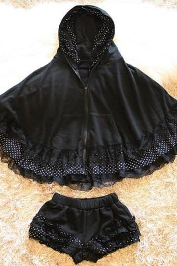 New winter spring 2014 Cute Lolita Black Suit Jacket And Shorts