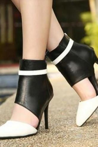 Sexy Black and White Run way High Heel Shoes