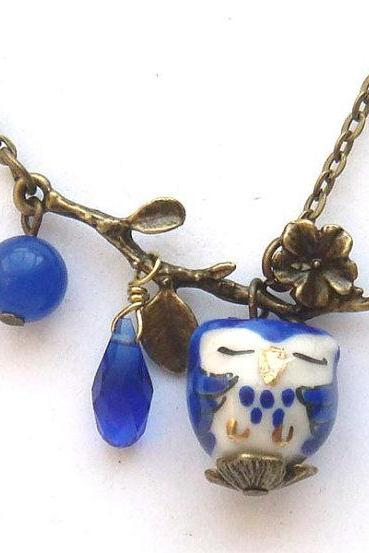 Antiqued Brass Leaf Jade Quartz Porcelain Owl Necklace