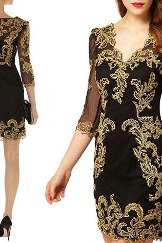 Three Quarter Sleeves Sexy V Neck Embroidery Mesh Dress [grzxy6601101]