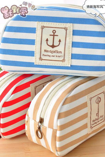 A1127 Ladies Girls Striped Sailor Anchor Canvas Multifunction Pen Pencil Pockets Cosmetic Makeup Bags Cases Zip-up Blue Red Khaki