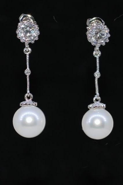 Wedding, Bridesmaid Earrings, Bridal Jewelry - Round Cubic Zirconia, Sterling Silver Earring Post with Round White Pearl Earrings (E479)
