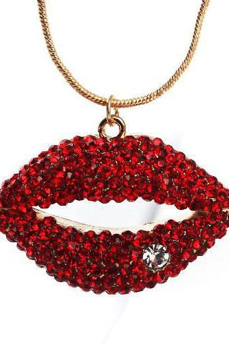 Sexy Red Lips Charming Ruby Necklace Gold Chain Sweater Chain Women Long Necklaces 1215