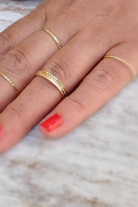 4 Gold rings, gold ring, Stacking rings, stacking gold rings, knuckle rings, thin ring, tiny ring, gold knuckle rings -RR1